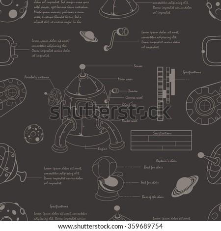 Vector illustration of a cartoon vintage blueprint rocket plan seamless pattern. - stock vector