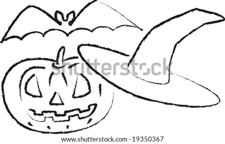 Vector Illustration Carved Pumpkin Bat Witch Stock Vector 19350367