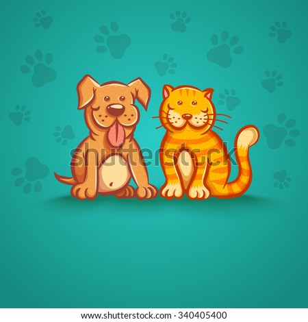 Vector illustration of a cat and dog - stock vector