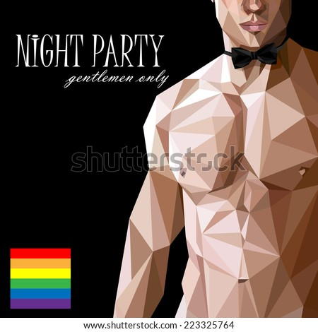 vector illustration of a caucasian or asian men nude fit  body with a bow tie  in low-polygonal style. gay party show poster. 18+ (for adults) - stock vector