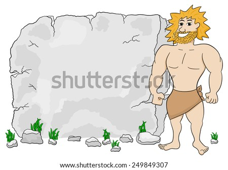 vector illustration of a cave man in front of stone tablet with copy space