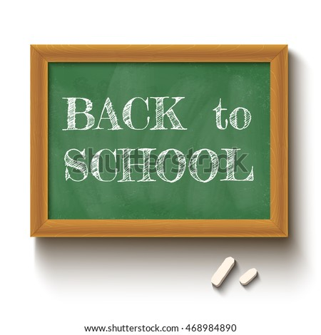 Vector illustration of a chalkboard and chalks with text back to school