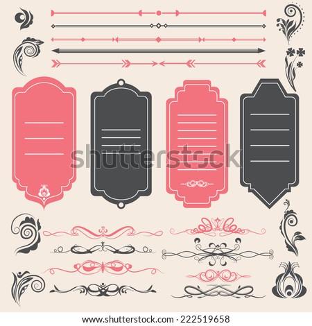 Vector illustration of a chalkboard style design elements for wedding invitations, birthdays, scrapbook - stock vector
