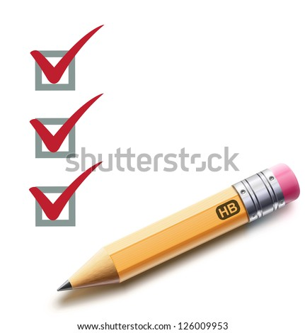 Vector illustration of a checklist with a detailed pencil checking off tasks