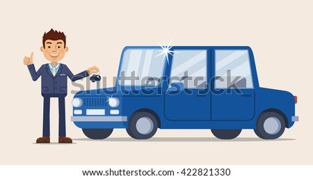 Vector illustration of a cheerful businessman standing near a car and holding a car key