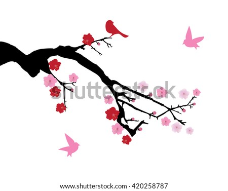 vector illustration of a cherry blossom branch