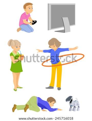 Vector illustration of a children on white - stock vector