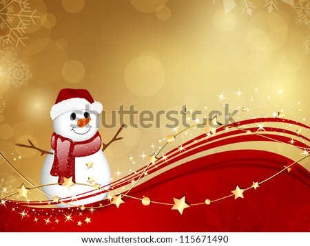 Vector Illustration of a Christmas Background with a Small Snowman - stock vector
