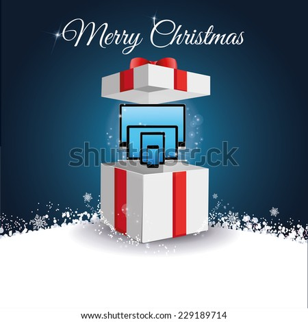 vector illustration of a Christmas gift with appliances - stock vector