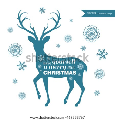Vector Illustration of a Christmas Greeting Card with Reindeer Silhouette and Snowflakes