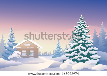Vector illustration of a Christmas house - stock vector