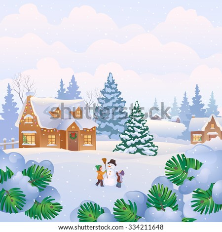 Vector illustration of a Christmas landscape with snowy homes and kids making a snowman - stock vector