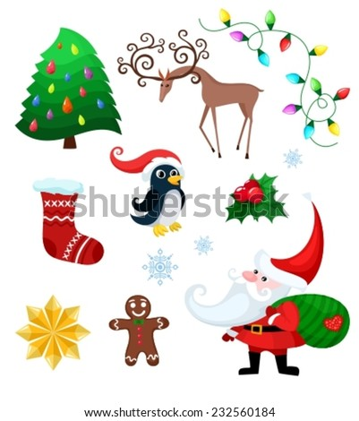 vector illustration of a christmas set - stock vector