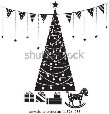 Vector illustration of a Christmas tree with gifts and decorations in graphic style - stock vector