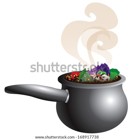 Vector Illustration of a Chunky Vegetable Soup Pot Steaming with smoke. - stock vector