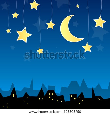 Vector illustration of a city at night - stock vector