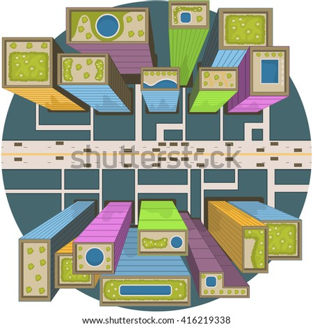 vector illustration of a city buildings aerial view perspective. - stock vector