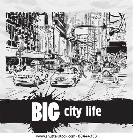 Vector illustration of a city-center in sketch-style. - stock vector