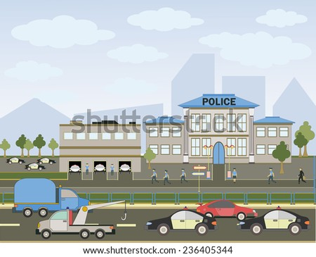 Vector illustration of a city police with colorful icons of cars, trees and buildings - stock vector