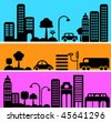 Vector illustration of a city street with icons of cars, trees and buildings - stock vector