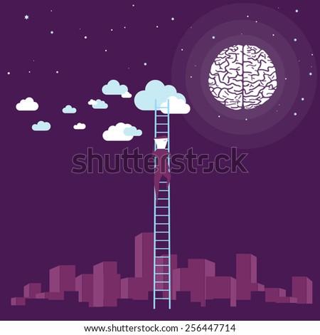 Vector illustration of a climbing to moon/Brain concept - stock vector