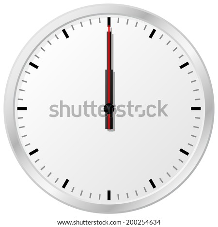 vector illustration of a clock at noon - stock vector