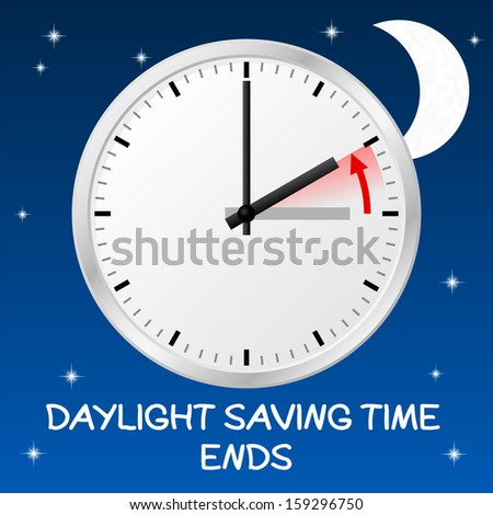 vector illustration of a clock return to standard time daylight saving time ends - stock vector