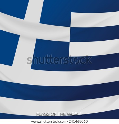 vector illustration of a close up view on the flag of greece - stock vector