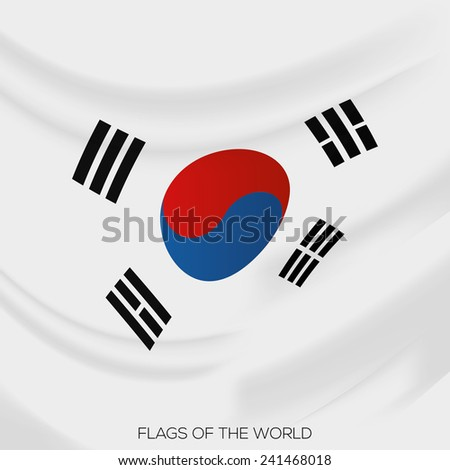 vector illustration of a close up view on the flag of south korea