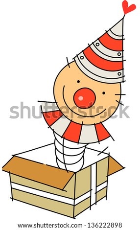 Vector illustration of a clown in a surprise box - stock vector