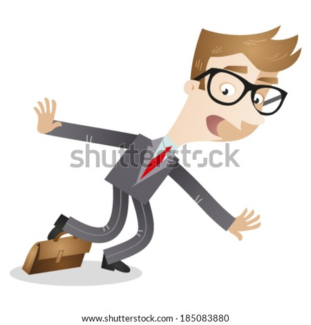 Vector illustration of a clumsy cartoon businessman stumbling over his briefcase. - stock vector