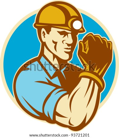 vector illustration of a coal miner with clenched fist viewed from the front set inside circle done in retro style on isolated background. - stock vector
