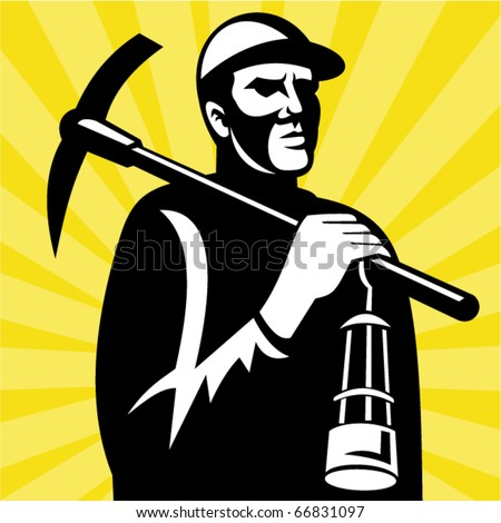 vector illustration of a Coal miner with pickax and lamp viewed from a low angle done in retro woodcut style.