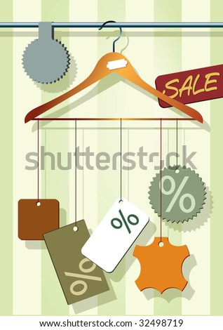 Vector illustration of a coat-hanger with different sale labels. - stock vector