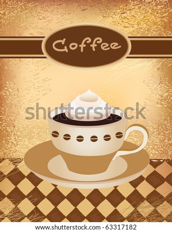 Vector illustration of a coffee cup with cream - stock vector