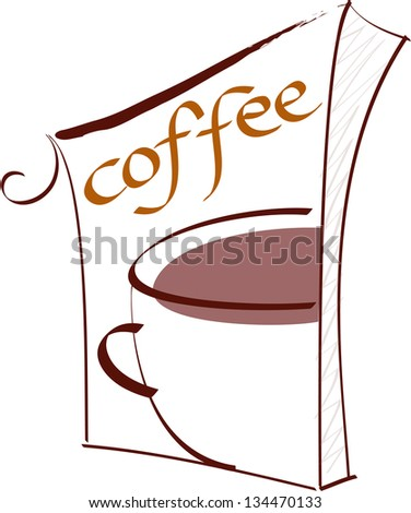 Vector illustration of a coffee sign