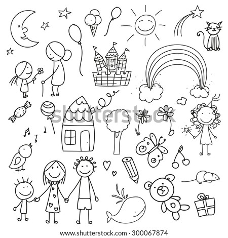 Vector Illustration of a Collection of Children Drawings  - stock vector