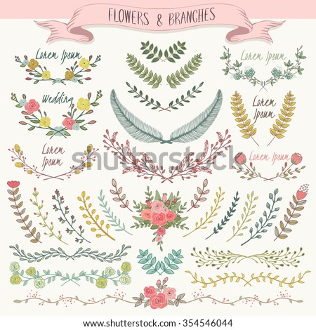 Vector illustration of a collection of floral borders. A set of beautiful flowers and branches for wedding invitations and birthday cards - stock vector