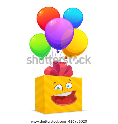 Vector illustration of a colored birthday or party balloons and funny gift box on white background - stock vector
