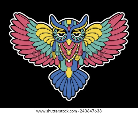 Vector illustration of a colorful owl with a necklace