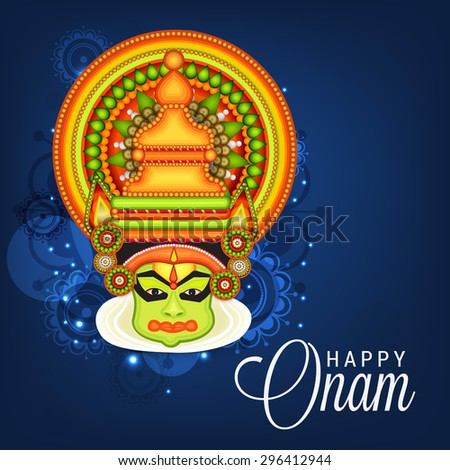 vector illustration of a colourful Kathakali face with heavy crown decorated with pearls and stone on shiny blue background for Onam celebration. - stock vector