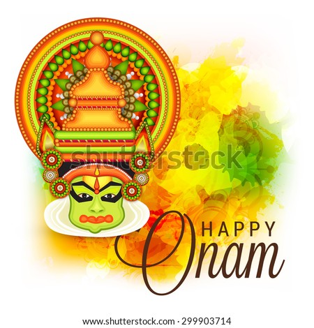 vector illustration of a colourful Kathakali face with heavy crown decorated with pearls and stone on grungy colourful background for Onam celebration. - stock vector
