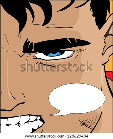 Vector illustration of a comic book character with speech bubble - stock vector