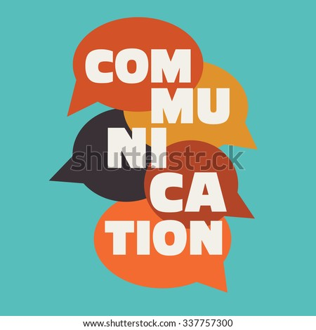 "Vector illustration of a communication concept. The word ""communication"" with colorful dialog speech bubbles - stock vector"