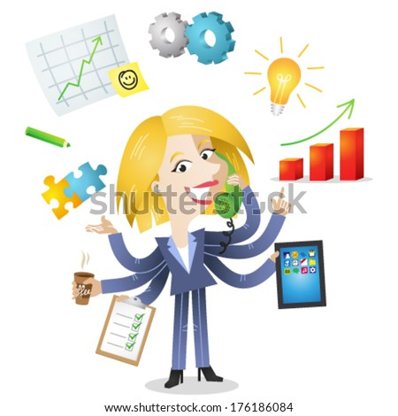 Vector illustration of a competent blond cartoon business woman with six arms doing multiple office tasks at once as a symbol of the ability to multitask (JPEG version also available in my gallery).  - stock vector