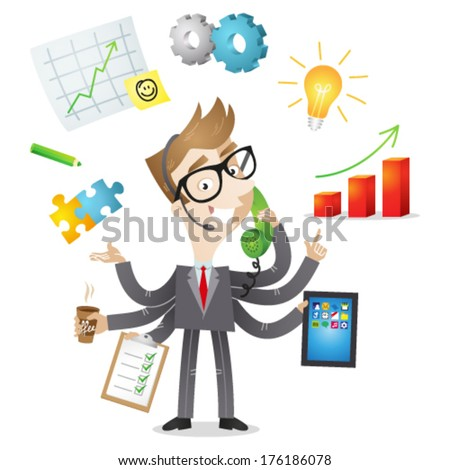 Vector illustration of a competent cartoon businessman with six arms doing multiple office tasks at once as a symbol of the ability to multitask (JPEG version also available in my gallery).  - stock vector