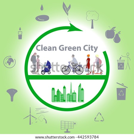 Vector illustration of a concept green clean city, flat style
