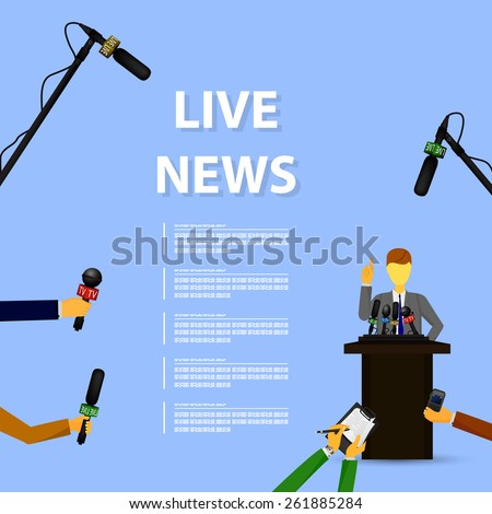 Vector illustration of a concept live news, reports, interviews. - stock vector
