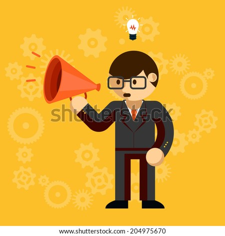 Vector illustration of a corporate businessman in suit and glasses with a megaphone conceptual of advertising  leadership  public speaking  promotion  innovation  ideas or protest - stock vector
