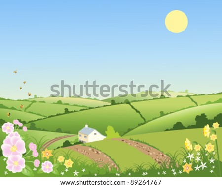 vector illustration of a country cottage in a springtime landscape with flowers and bees under a blue sky in eps 10 format - stock vector